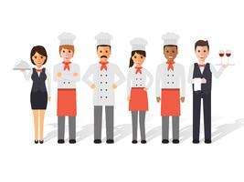 Chefs et équipe de restaurant. vecteur
