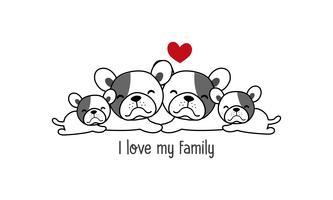 """La famille mignonne de chien heureux disent """"j'aime ma famille"""". vecteur"""