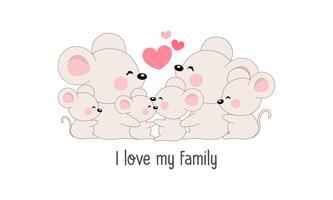 """La famille mignonne de rat heureux dit """"j'aime ma famille""""."""