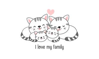 """La famille mignonne de chat heureux disent """"j'aime ma famille""""."""
