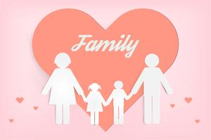 Famille heureuse d'amour. Bonne fête des parents avec père, mère et enfants. Conception d'art de papier.