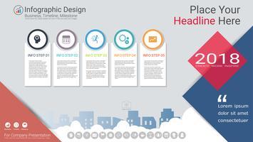 Modèle d'infographie d'entreprise, chronologie du jalon ou feuille de route avec options de l'organigramme de processus 5. vecteur