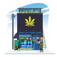 bâtiment de magasin de mauvaises herbes - vecteur