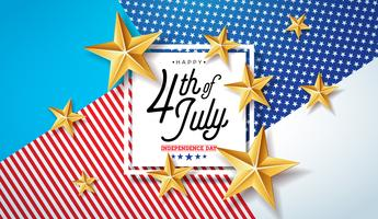 4 juillet, jour de l'indépendance des Etats-Unis Vector Illustration. Célébration nationale américaine du quart de juillet avec étoiles et lettre de typographie sur fond abstrait