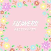 Fleurs abstraites cadre fond de bordure. fleur pastel. vecteur