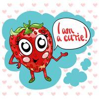 Main, dessin vectoriel d'illustration mignon fraise sucrée.