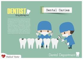 Un dentiste vérifie tes dents et cherche des caries dentaires. Vecteur Design plat.