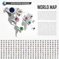 Carte du monde en perspective et épingle de localisation du navigateur GPS avec tous les éléments de drapeau de la nation. Vecteur