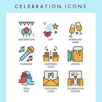 Icônes de célébration vecteur