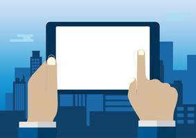 Main touchant un écran blanc d'ordinateur tablette sur fond de paysage urbain ville. Mains d'homme d'affaires à l'aide de tablette numérique, concept de design plat, illustration vectorielle