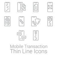 Ensemble d'icônes de transaction et d'activités Smartphone. Icônes de finances personnelles et commerciales.