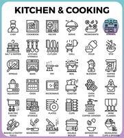 Icônes de cuisine et de cuisine vecteur