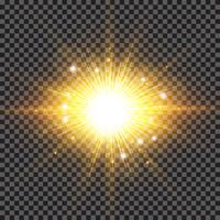 Effet de lumière des rayons de soleil étincelants éclatent avec éclats de scintillement sur fond transparent. vecteur
