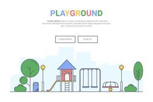 Paysage de jeux sur le concept de parc public. conception pour le site Web de la page de destination de thème. Votre ligne art. vecteur
