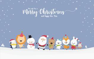 Bonhomme de neige mignon Santa avec dessin animé animal main dans la main avec espace de copie 001