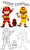 Personnage de pompier heureux Doodle vecteur