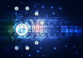 Concept de sécurité, cadenas fermé numérique, cyber sécurité, abstrait bleu salut vitesse internet technologie vector illustration d'arrière-plan.