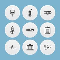 Ensemble d'icônes médicales. illustrateur de vecteur. vecteur