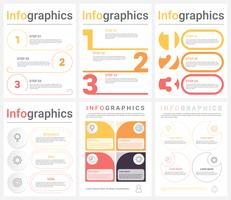 Ensemble de modèles d'infographie métier comportant 3 à 4 étapes, processus ou options. Infographie moderne abstraite.