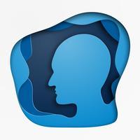 Style d'art de papier tête humaine. les hommes font face au profil. entreprise concpet. Illustration vectorielle vecteur