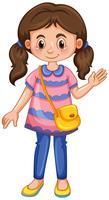 Petite fille agitant la main vecteur