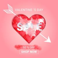 Fond de vente Saint Valentin avec splash aquarelle en coeur et flèche cupidon. concept amour et Saint Valentin, style art papier. vecteur