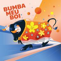 Illustration taureau agressif avec tissu et attributs ou Bumba Meu Boi vecteur