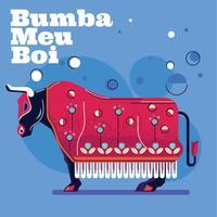 Illustration Taureau avec tissu et attributs ou Carnaval Bumba Meu Boi vecteur