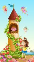 Fille prenant une photo de la tour avec des fées vecteur