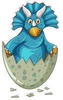 Dinosaure bleu à l'oeuf gris vecteur