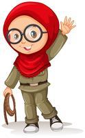 Fille musulmane avec foulard rouge vecteur