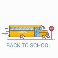 Vue de face de l'autobus scolaire. retour au concept d'école. Style de ligne mince
