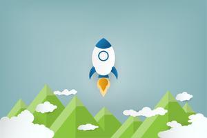 Style d'art de papier. Lancement de fusée sur les nuages et le ciel bleu.