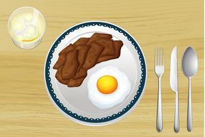 Une viande et une omelette dans un plat vecteur