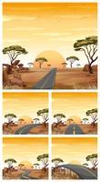Cinq scènes avec des routes dans un champ de savane