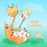Affiche de carte postale d'une girafe mignonne et d'oiseaux dans un parapluie avec des fleurs en style cartoon. Dessin à main levée. vecteur