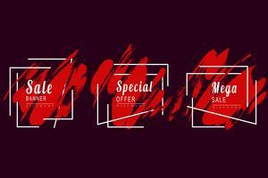 bannière de vente aquarelle abstraite rouge