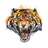 illustration vectorielle aquarelle génial tigre