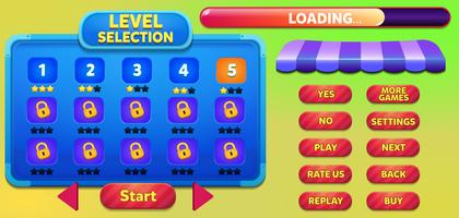Scène de menu de jeu de sélection de niveau avec boutons, barre de chargement et étoiles vecteur