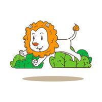 vecteur de dessin animé mignon petit tigre doodle