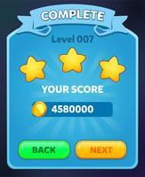 Niveau menu complet pop up avec score étoiles et boutons vecteur