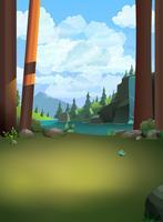 Forêt colline nature portrait vectoriel nature fond