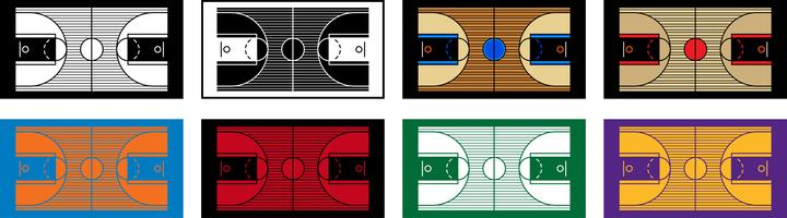 Illustration vectorielle d'un terrain de basket en bois dur vecteur