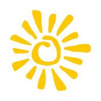 Soleil stylisé jaune en icône de vecteur Inky Painted Tribal Style