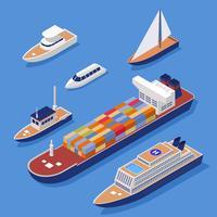 Transport de bateau isométrique Clip Art Set vecteur