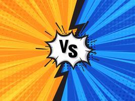Contexte de dessin animé de combat comique. Bleu vs jaune. Illustration vectorielle