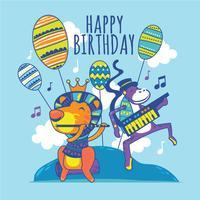 Lion et singe drôles avec flûte et Electone chante un joyeux anniversaire à la chanson vecteur
