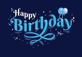 Typographie de joyeux anniversaire sur fond bleu foncé vecteur