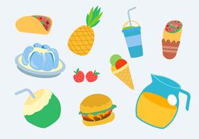 Summer Food Collection Vector Illustration à plat