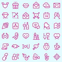Set d'icônes Valentin vecteur